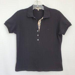 Burberry Cotton Pique Short Sleeve Polo Top, Black